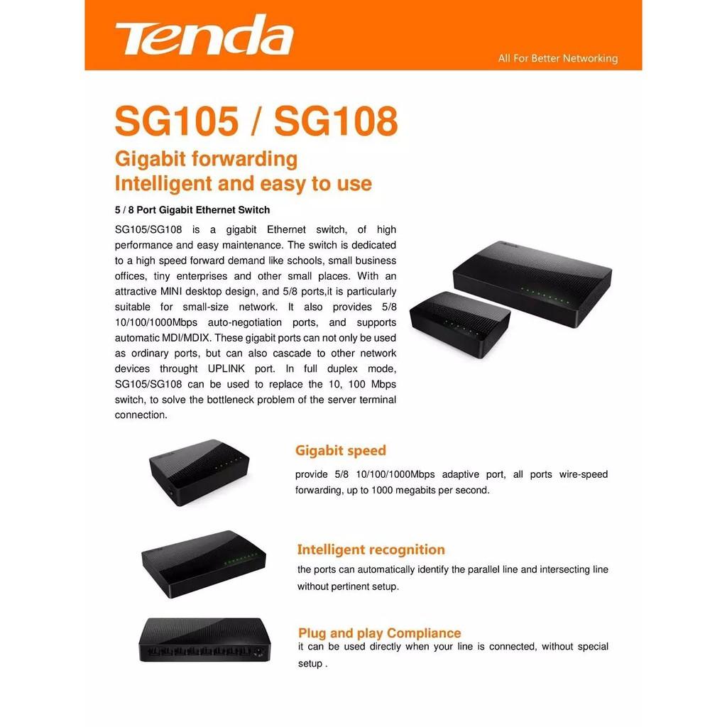 TENDA SG105 SG108 5 / 8 PORTS Gigabit Switch similar with MS105 MS108 SG108E SG105E SG1005D SG1008D DGS1005A DGS1008A