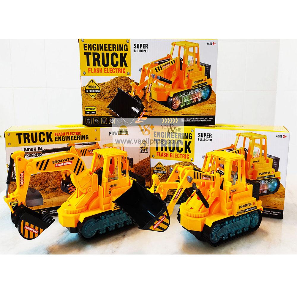 Ready Stock-Children toys Engineering Truck Excavator or Bulldozer Flash Electric