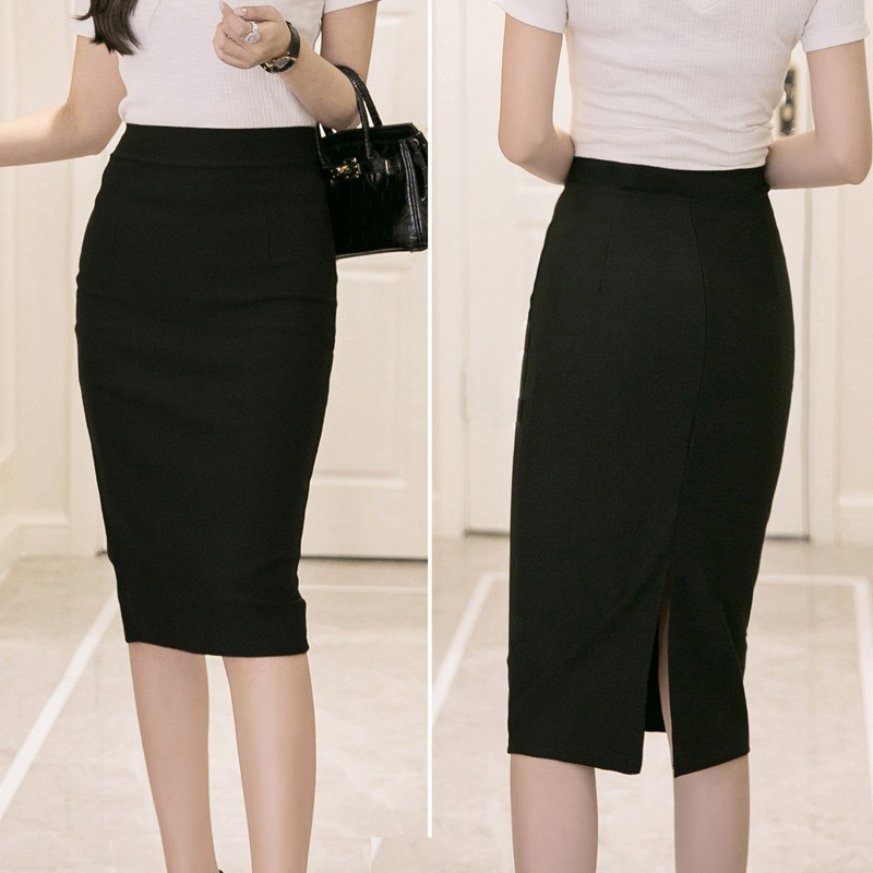 5b1b05c37e ProductImage. ProductImage. Long Skirt High Waist Women Knee Length Pencil  Skirt Solid ...