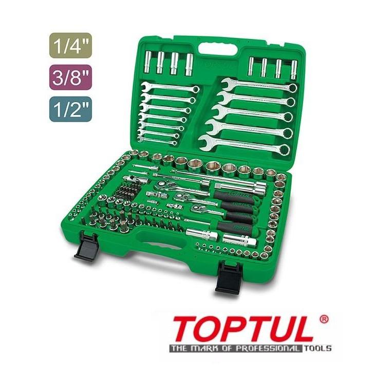 "Toptul 130PCS Professional Grade 1/4"", 3/8"" & 1/2"" DR. Flank Socket Wrench Set GCAI130B"