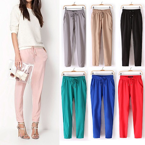 32e7fa05995 (L) ~ Drawstring Palazzo Wide Leg Casual Loose Culottes Pants Trousers