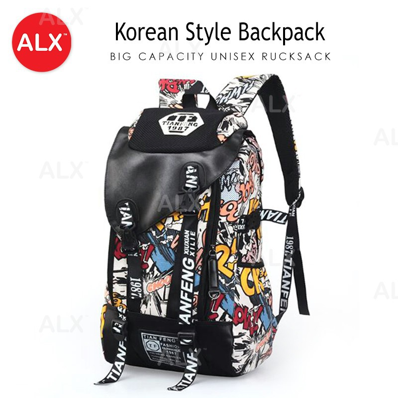 bd87d707dad6 ALX 2pcs Korean Fashion High Quality Leather Casual Backpack Wt Clutch Bag  Beg
