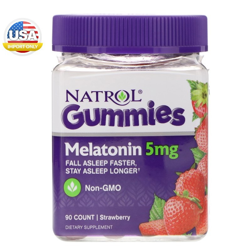 พร้อมส่ง_Natrol, Gummies, Melatonin, Strawberry, 5  mg, 90