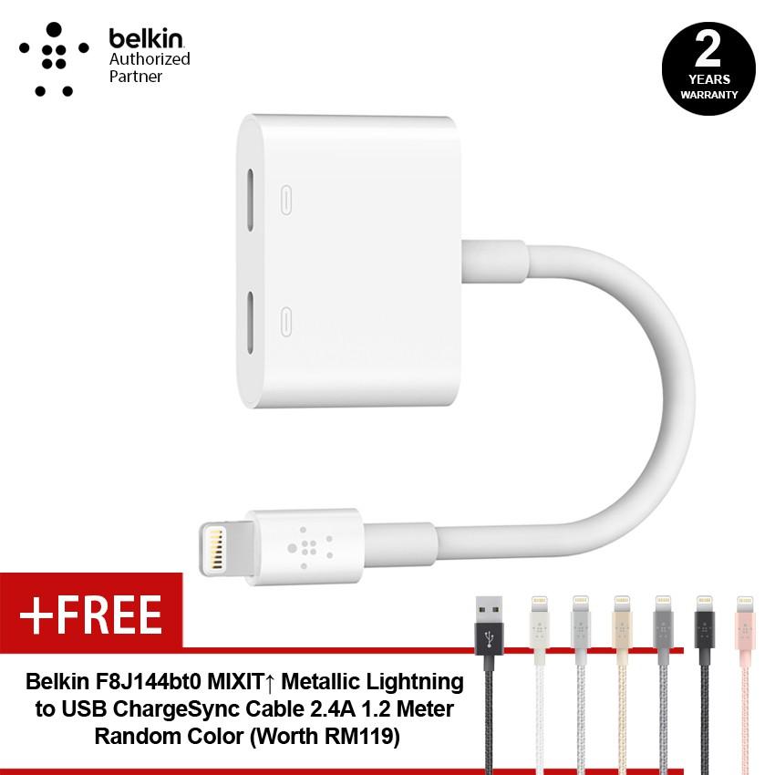 Belkin F8J198btWHT Lightning Audio + Charge RockStar Free Belkin Lightning  Cable