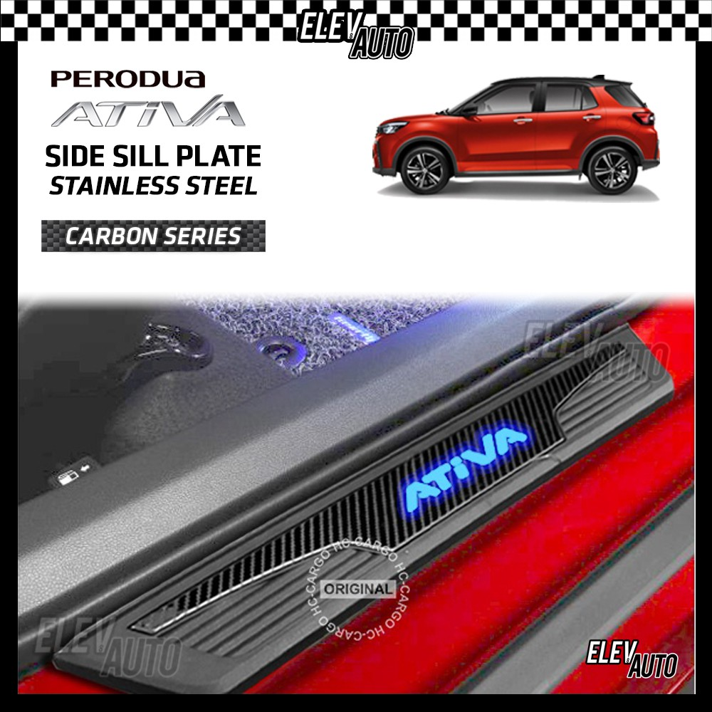 Perodua Ativa CARBON STAINLESS STEEL LED Side Step Sill Step Sill Plate Door Step Scuff Perodua Ativa Accessories