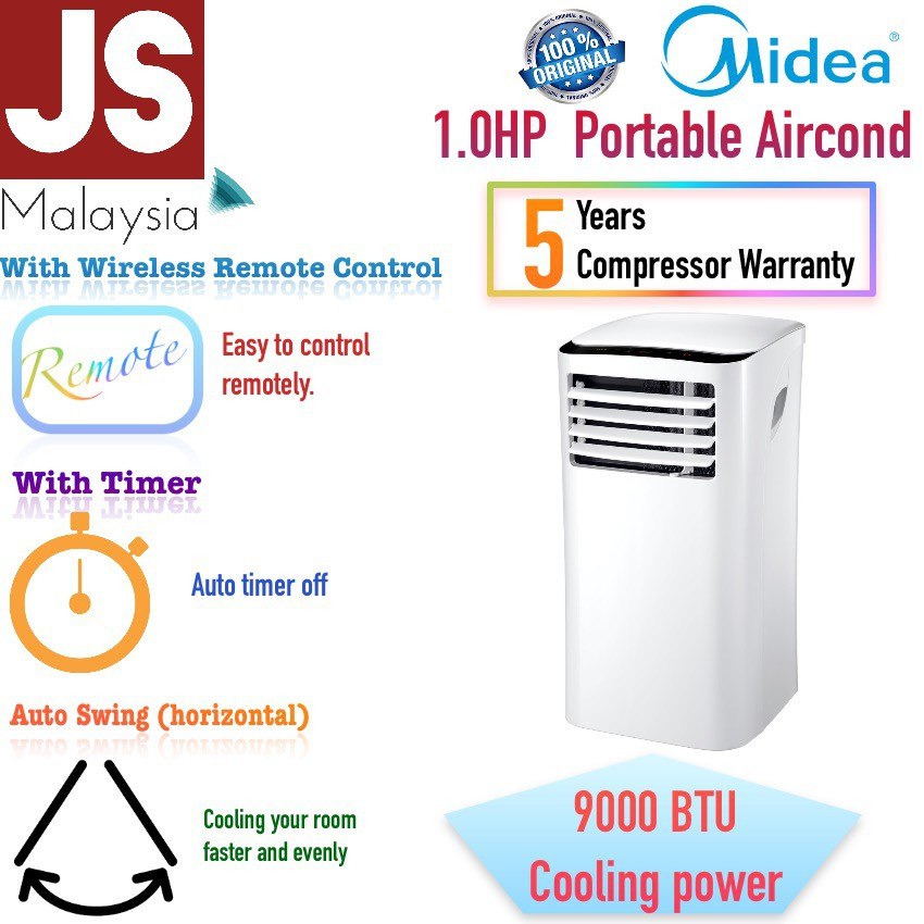 MIdea Portable Air Cond 1.0HP PH Series MPH-09CRN1 [5 Years Compressor]