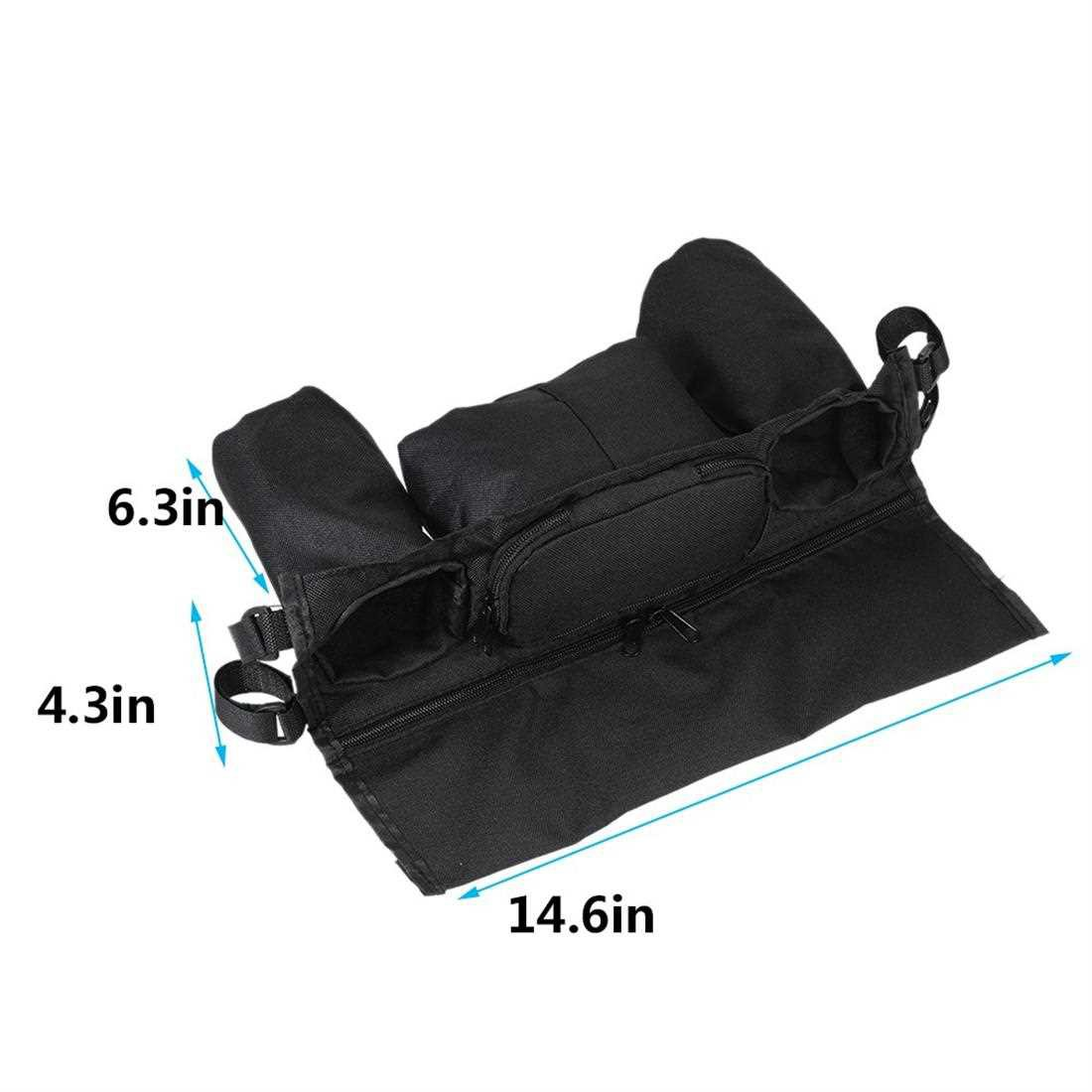 Universal Baby Stroller Organizer Diaper Bottle Storage Bag Drink Holders with Adjustable Magic Tape Black (Black)