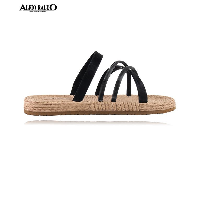 Alfio Raldo Easy Wear Open Toe Black Sandal