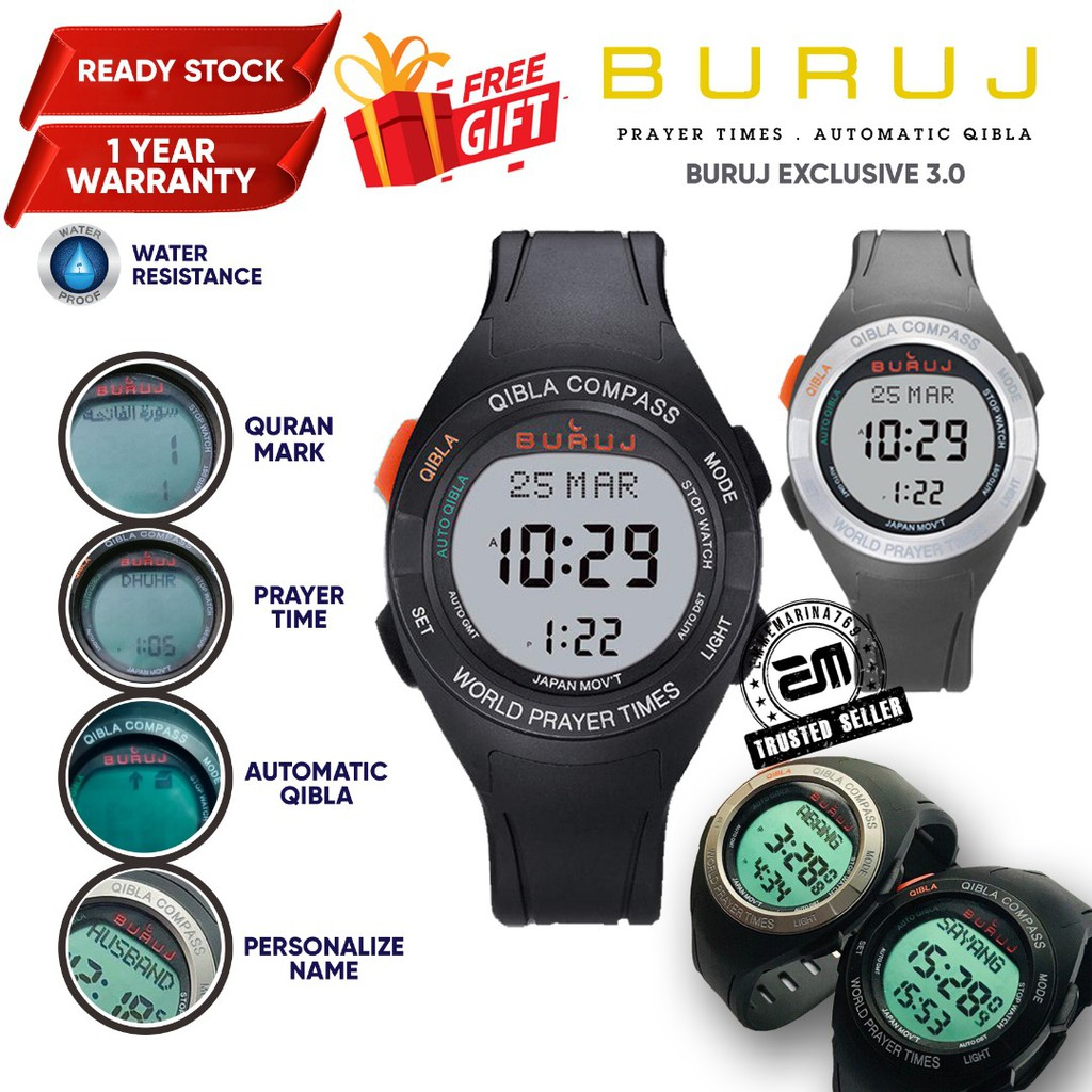 Buruj Exclusive Jam Tangan Azan Solat Digital dan Kiblat Kompass Rubber Strap Water Resistant Watch for Men