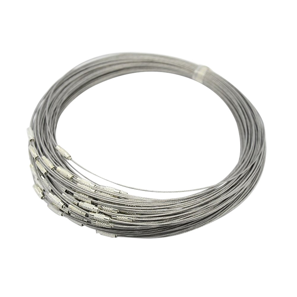 100 Strands Black Stainless Steel Wire Necklace Cords with Brass Screw Clasp