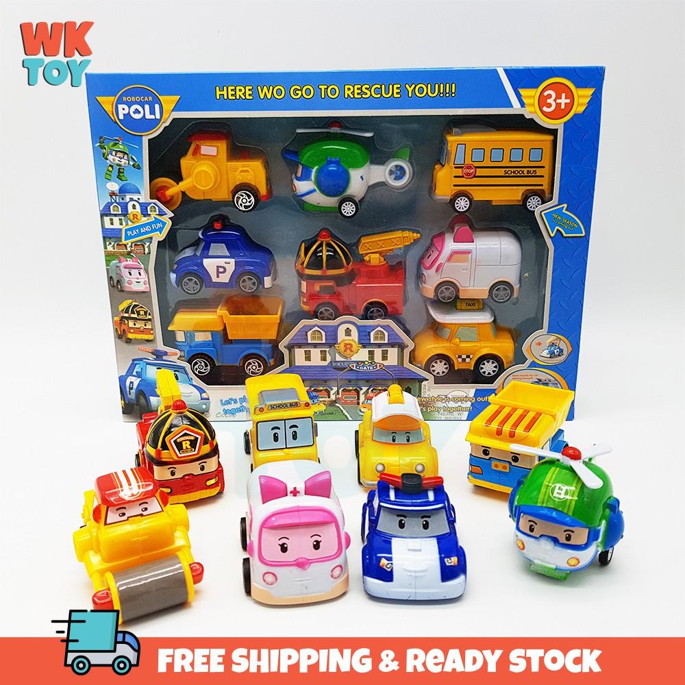 WKTOY 8 in 1 Poli Pull Back Robot Racing Robot Car Toy Toys Set