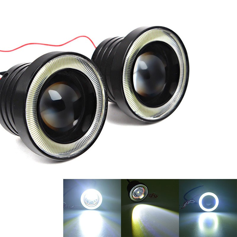"2Pcs 2.5/"" White Angel Eye LED COB DRL Halo Ring Projector Lens Fog Driving Light"