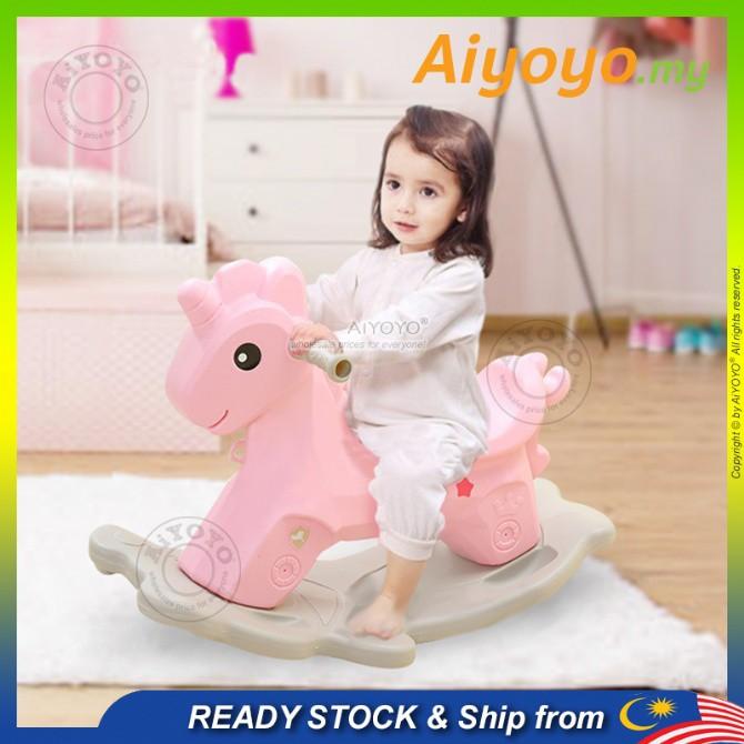 Rocking Unicorn Rocking Horse Rocking Pony Mainan Kuda Goyang Kids Toddler Mini Riding Horse Ride Toy Fun Gift Girl Boy