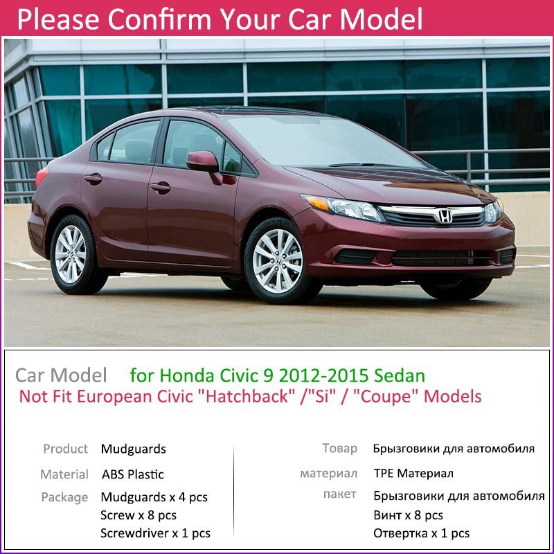 For Honda Civic 9 2012 ~ 2015 4pcs Mudguard Car Fender