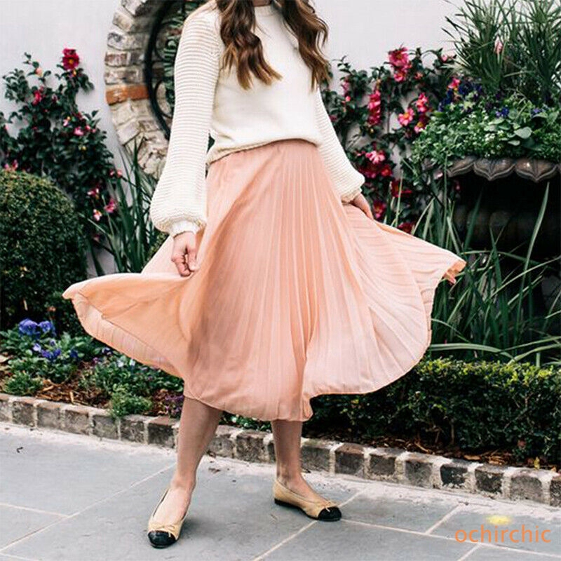 Women Korean Pleated Skirt High Waist Long A-line Maxi Skirt Elastic Casual Summer