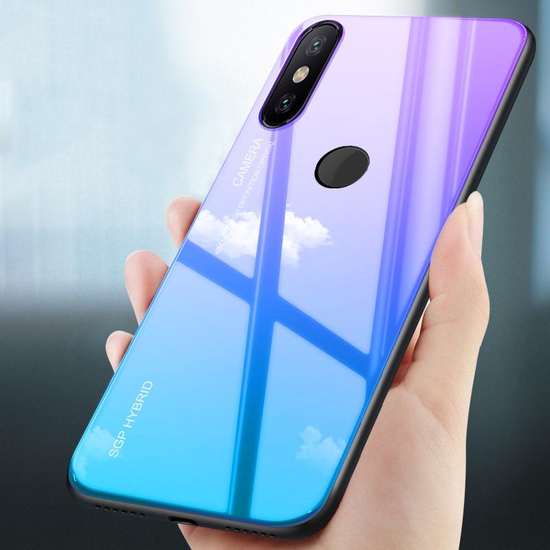 Xiaomi Mi A2 Lite A2lite Fashion Backplane Glass Full Protection Back Case  Cover