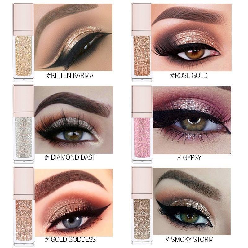 6 Colors Liquid Eyeshadow Makeup Shimmer Glitter Eye Shadow Lasting Metallic Pigmented Eye Liner