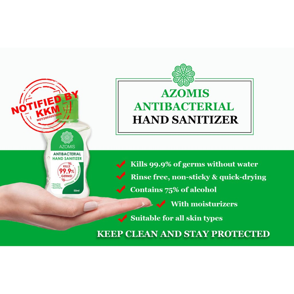 [READY STOCK] 50ml Azomis Anti-Bacterial Hand Sanitizer Sanitiser (99% Kills Germs) 消毒杀菌洗手液 Approved by KKM