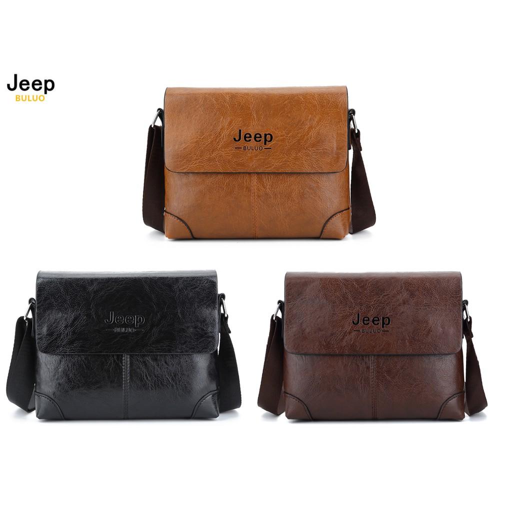 Jeep Buluo Genuine Leather Men Bag Shoulder Bag Jeep Bag Sling Bag  Messenger Bag  d47048dc51b60