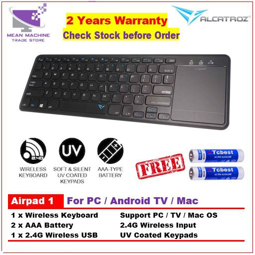 #Alcatroz AirPad 1 Wireless Keyboard Touchpad For Smart TV &PC(Free AAA  Battery)