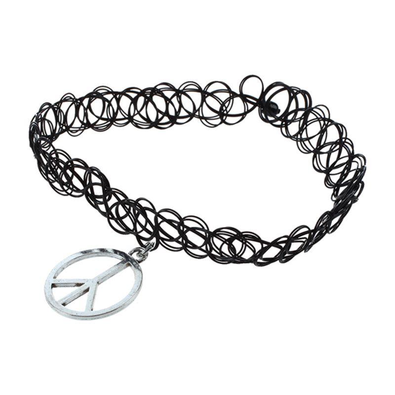 02c84d28f85cc Elastic Boho Tattoo Choker Strand Necklace Black Retro Henna Vintage Gothic  Peace Sign