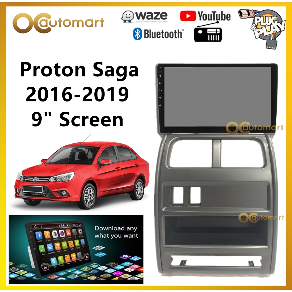 """Proton Saga VVT 2016-2019 Big Screen 9"""" Plug and Play OEM Android Player Car Stereo With WIFI Video Player/TouchScreen"""