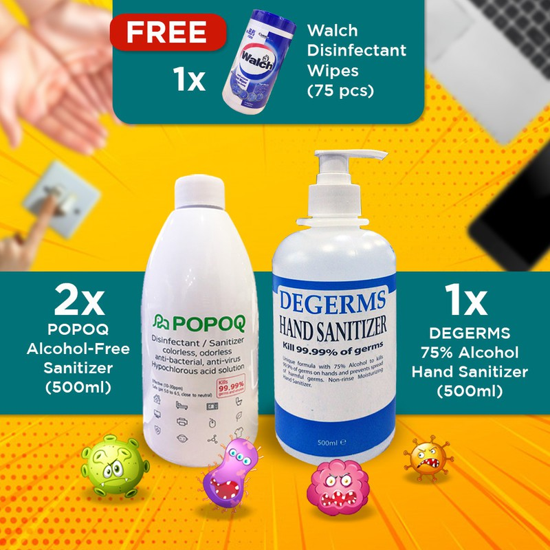 【HOCL Safe Family, Deadly For Germs】2x Popoq, 1x 500mL Degerms, Walch Wet Wipe