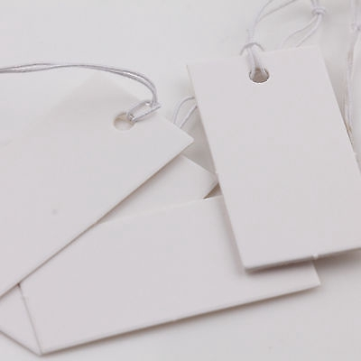 Wholesale 1000X White Brown Label String Jewelry Merchandise Price Tags Elastic