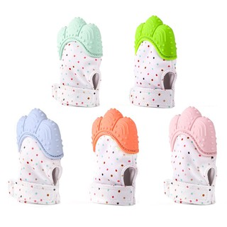 Available❤Baby Mitten Teething Glove Candy Wrapper Sound Teether Safe Silicone