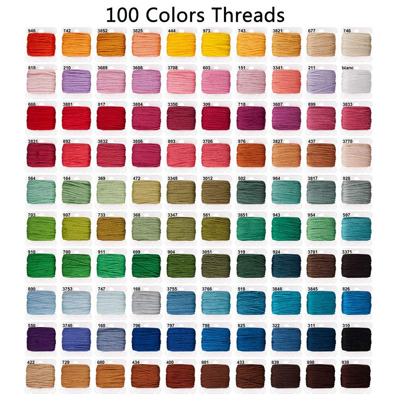 Embroidery Floss 139pcs Embroidery Thread String Kits 100 Skeins Premium Rainbow Floss Bobbins and Cross Stitch Kit with Organizer Storage Box