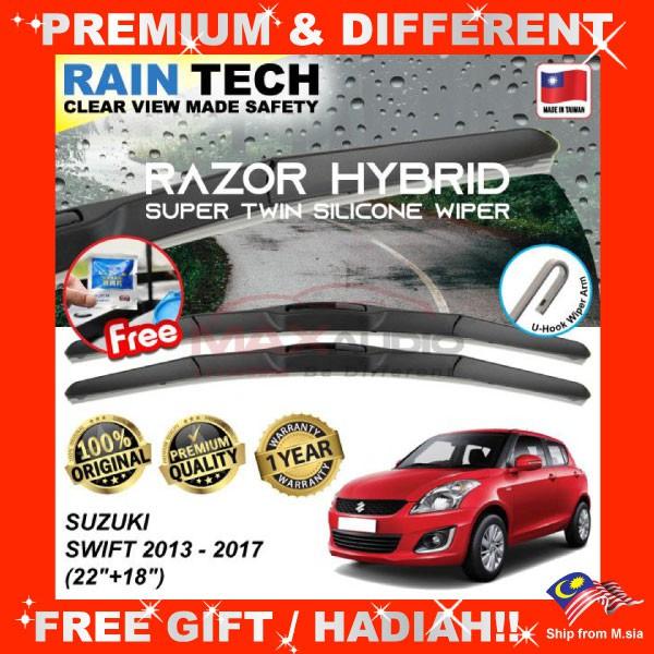 [FREE Gift] SUZUKI SWIFT 2013 - 2017 (22/18) RAIN-TECH RAZOR HYBRID Silicone Aerodynamic Clean Wipe Safety Wiper Blade