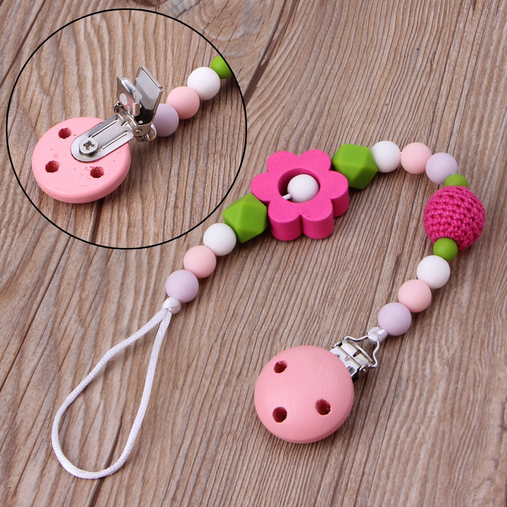 Baby Teething Dummy Pacifier Clip Infant Soother Nipple Strap Chain Gift Cute