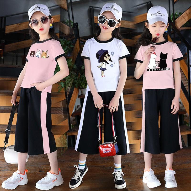 Fashion 2020 Pakaian Kanak Kanak Baru Pakaian Musim Panas Wanita Versi Korea Baju Kanak Kanak Perempuan Lengan Pendek T Shirt Seluar Panjang Seluar Dua Potong Shopee Malaysia