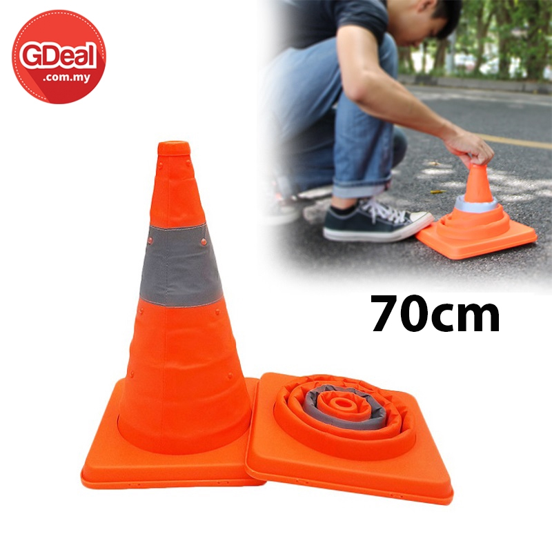 Portable Telescopic Foldable Road Cone Traffic Warning Sign Traffic Cone Reflective Oxford Road Safety Facilities (70cm)