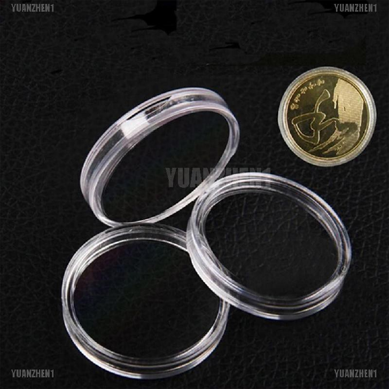 10X 25mm Applied Clear Round Cases Coin Storage Capsules Holder Plastic B$CA