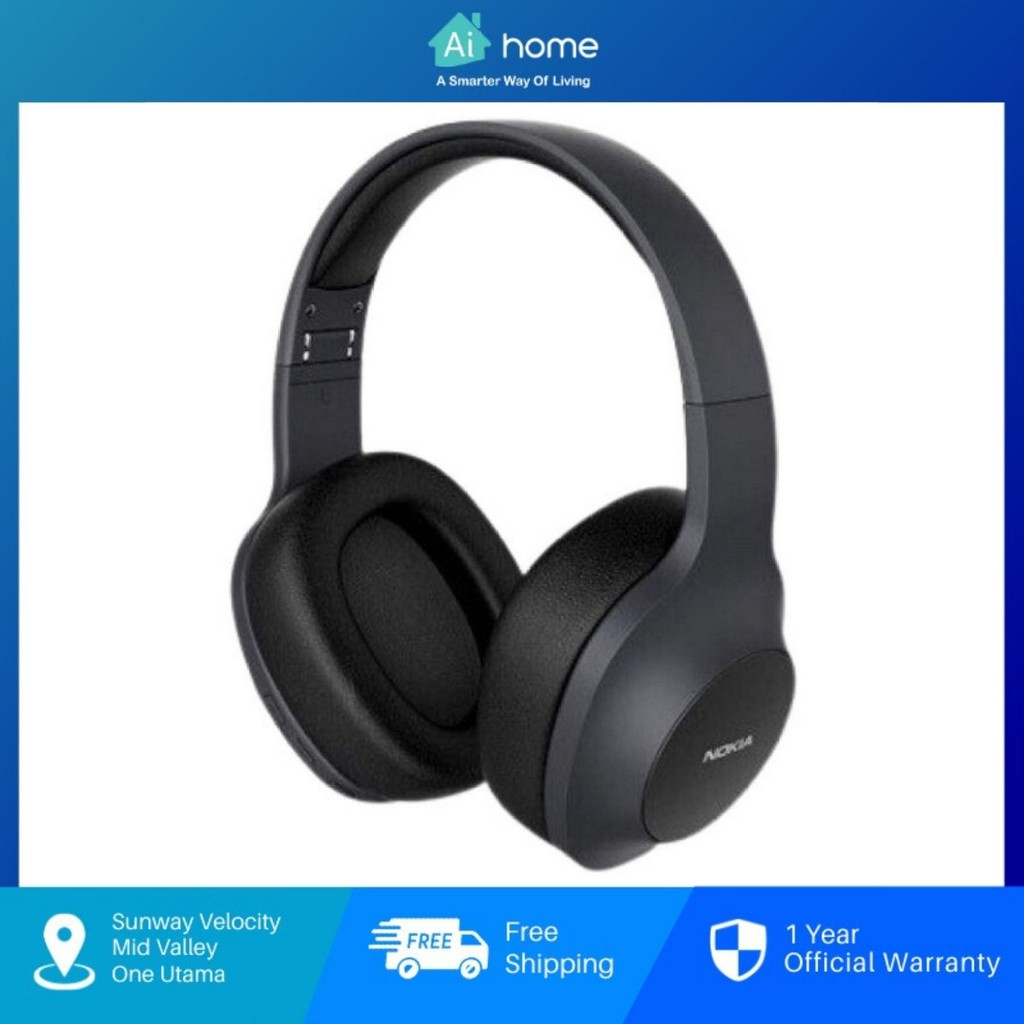 NOKIA Essential E1200 Over-the-Ear Wireless Headphones - Voice Control   40H Play Time   Dynamic Bass [ Aihome ]