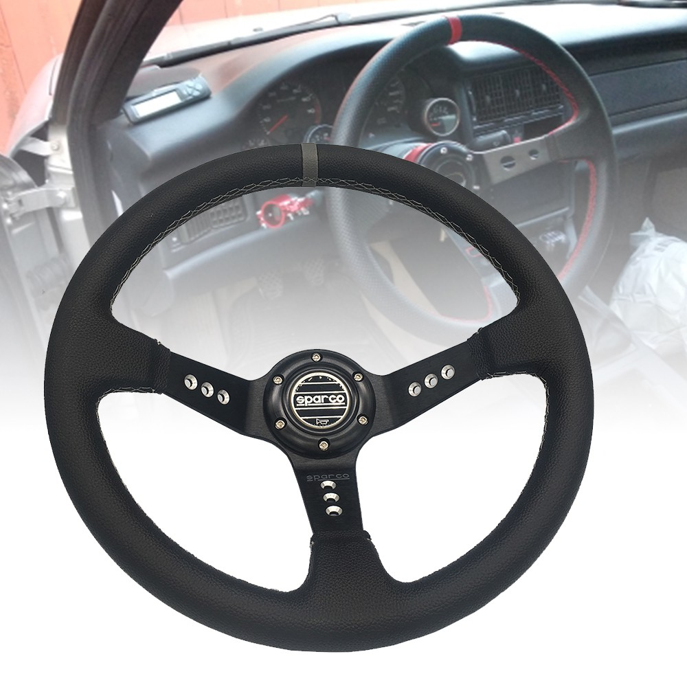 350mm Blue 3 inches Deep Dish 3-Spoke PVC Leather with Red Stitching Racing Steering Wheel