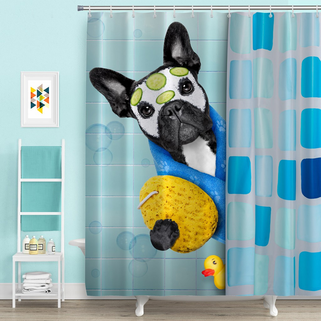 Bulldog Dog Shower Curtain Bathroom Waterproof Polyester Dust Proof With 12 Hook