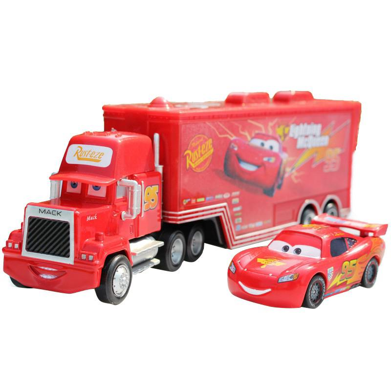 Original Disney Pixar Cars NO 95 Lightning McQueen + Mack