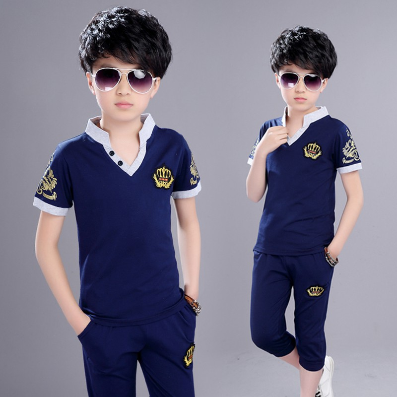 274c0e938 ❧Children's Clothing Boys Summer v cotton set new Kids short sleeves in the  Korean version of two-piece