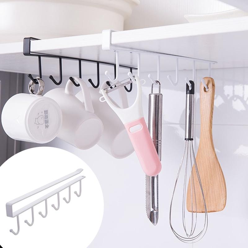 Home Garden Racks Holders 6 Hooks, Kitchen Cabinet Shelves Holders