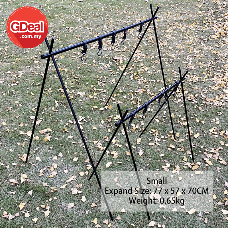 GDeal Multifunctional High Quality Small Camping Tripod Folding Storage Rack With 5 Hanger