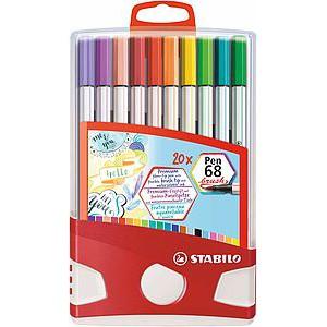 Stabilo Premium Pen 68 Brush - 20 Assorted Colours 568/20-021 Brush Tip Brush Pen Watercolour Pen