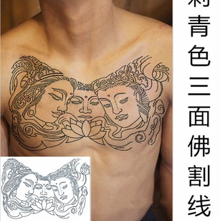Line Breastplate Three Faced Buddha Tattoo Sticker On The Chest