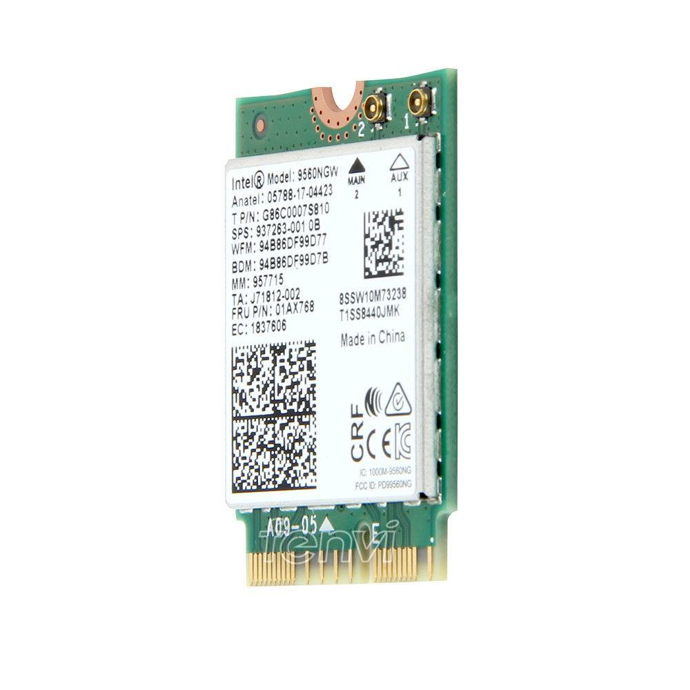 1733Mbps Intel 9560 9560NGW Wireless-AC NGFF Key E BT5.0 Wifi Card MHF4 Antenna