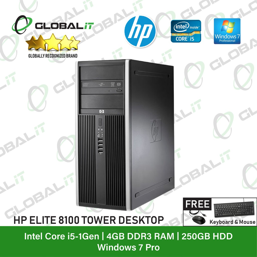 (Refurbished Desktop) HP 8100 Elite Tower / Intel Core i5 / Windows 7