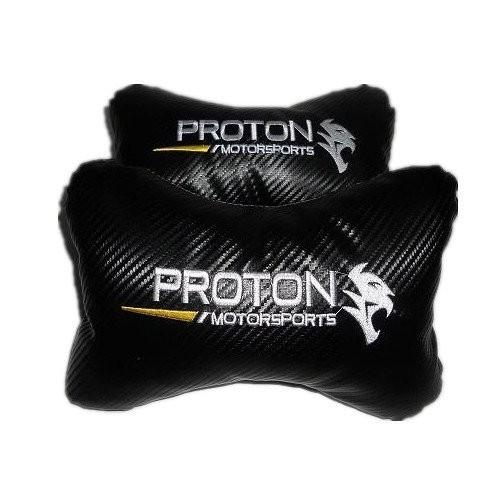 Proton Carbon Leather  Car/Auto Head/Neck Rest Pillow (2 Pcs)