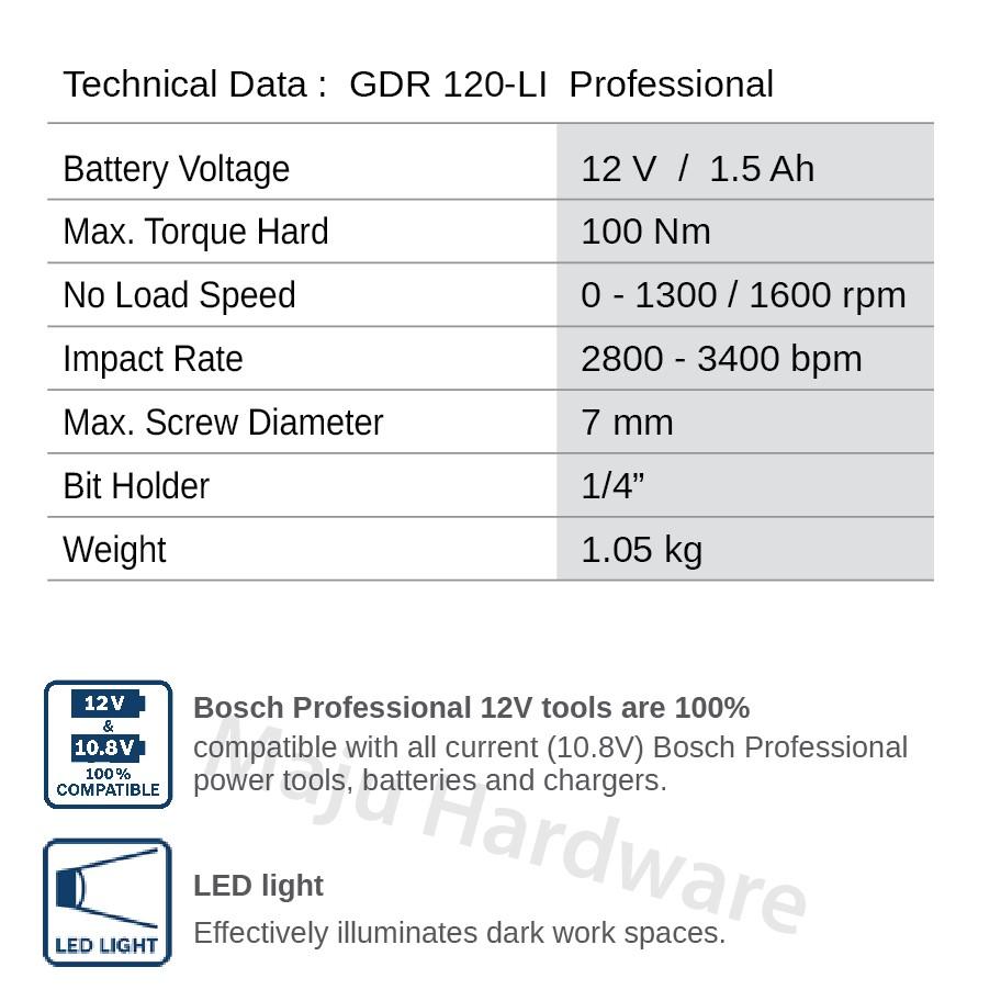Bosch GDR 120 LI Impact Driver 12V 120-LI | Shopee Malaysia