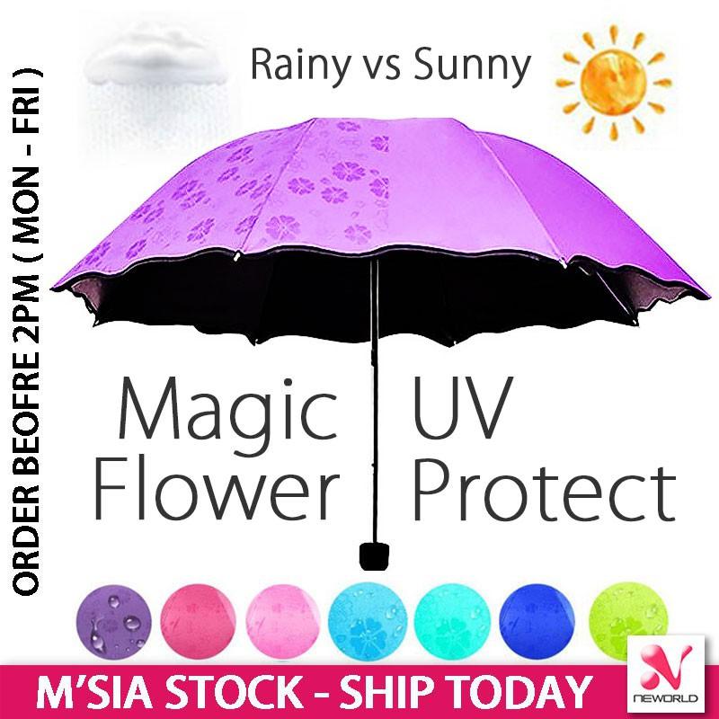 a5ae9d2796 Magic Flower Anti UV Protect Sakura Blossom Foldable Small Size Windproof  Umbrella Sun Rain Travel Beach - High Quality