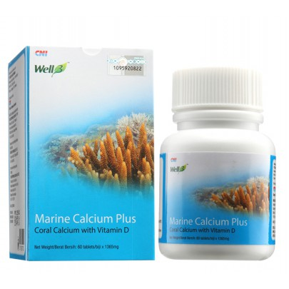 Marine Calcium Plus with Vitamin D3 (60 Tablets)(Well3)(CNI) * Coral Calcium*